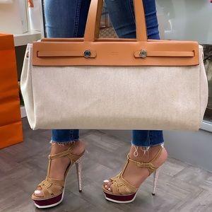 HERMÈS Herbag Beige Canvas Brown Leather Bag